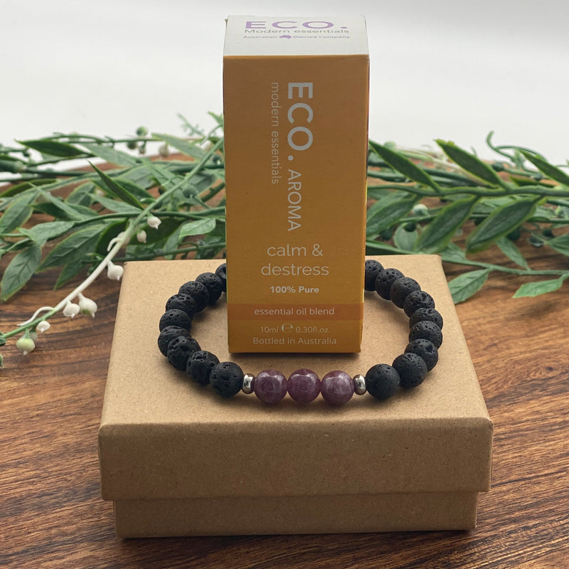 Gift Boxed Set ECO Super Calm Destress Essential Oil & Lava Lepidolite Anxiety Bracelet