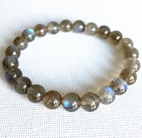 Stunning high quality labradorite adult stretchy bracelet for anger and stress