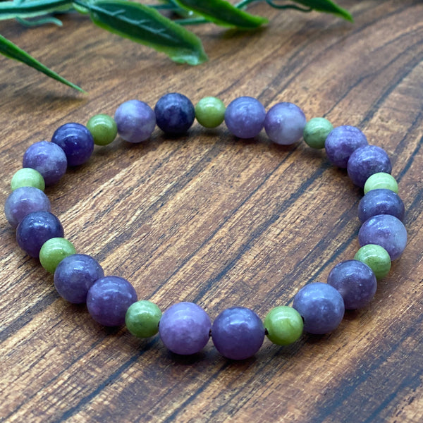 Be Free from toxic emotions & Anxiety Lepidolite & Jasper Stretchy Adult Bracelets