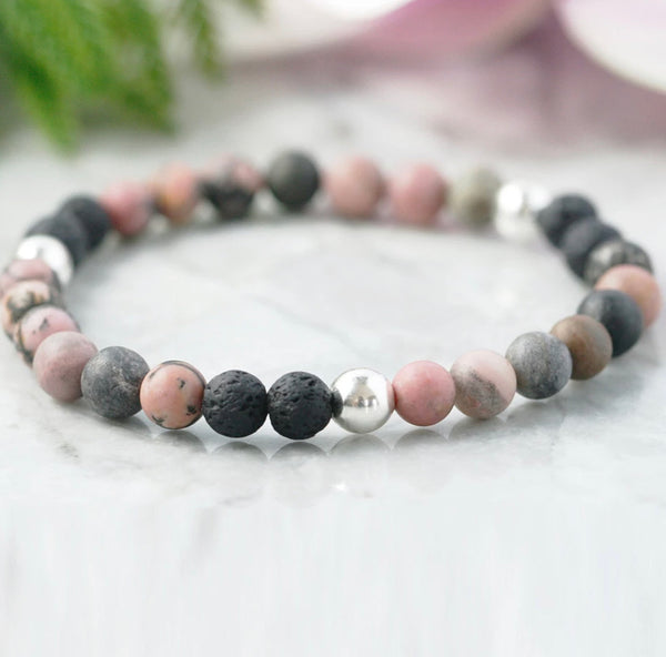 Adult Emotional Balance Rhodonite & Lava Stretchy Bracelets - The perfect gift