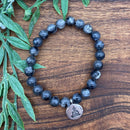 Be Free from Stress & Anxiety Lepidolite & Labradorite Lotus Stretchy Adult Bracelets