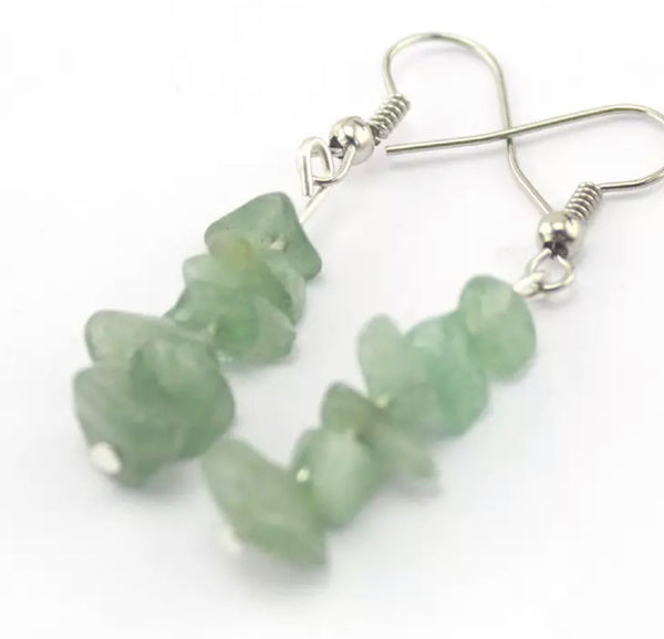 Adult Aventurine & Snowflake Obsidian Gemstone Earrings