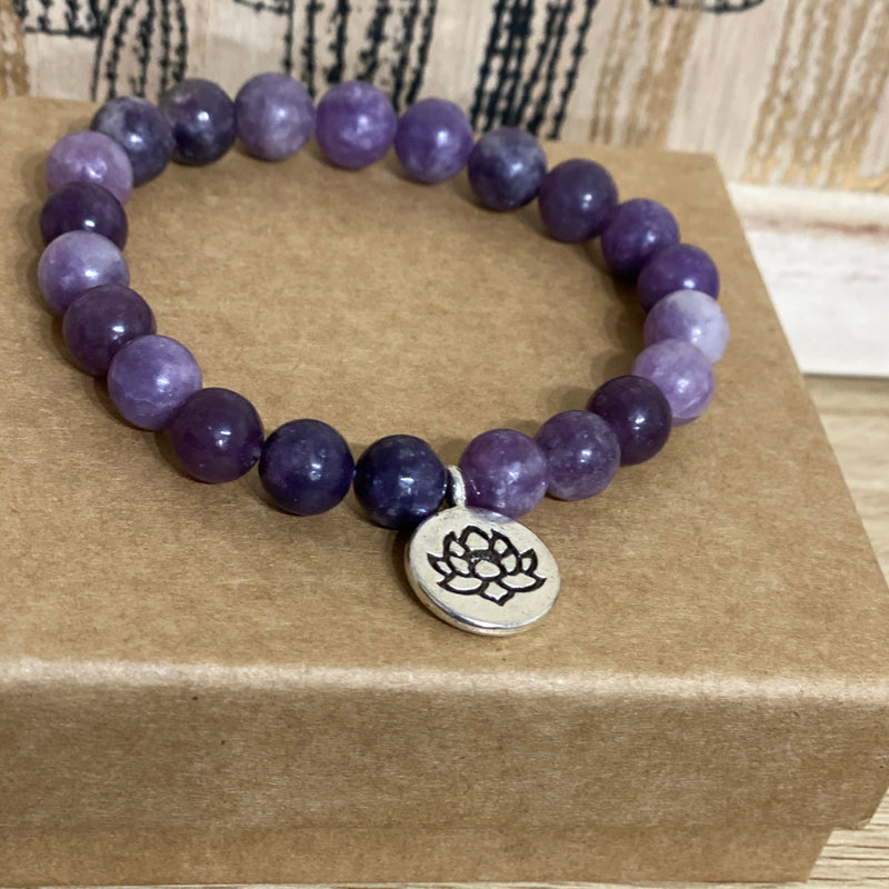 ECO Anxiety Essential Oil & Lotus Lepidolite Bracelet Gift Box Set
