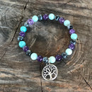 Anxiety Tree of Life labradorite & Quartz or Sleep Amethyst bracelet or Earrings