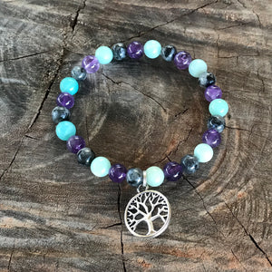 Anxiety Tree of Life labradorite & Quartz or Lepidolite bracelet