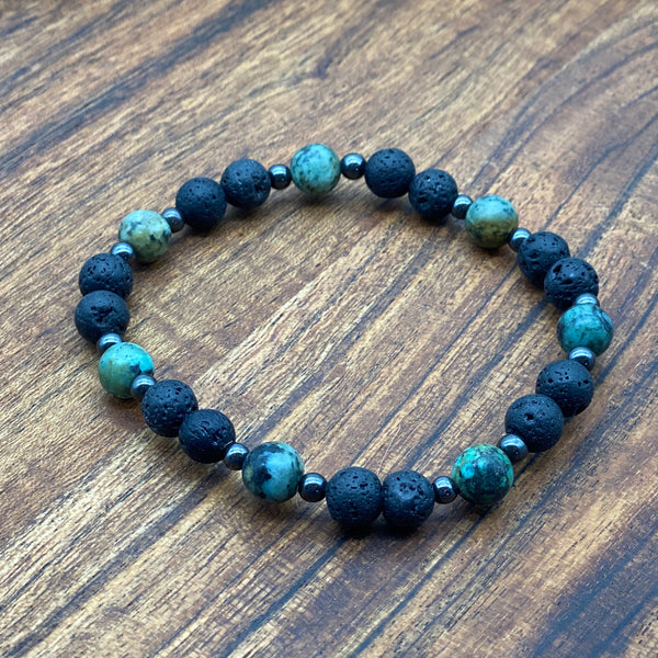 Adult African Turquoise, Hematite & Lava Stone Diffuser Bracelets