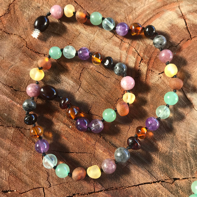 calming amber lepidolite necklace for babies