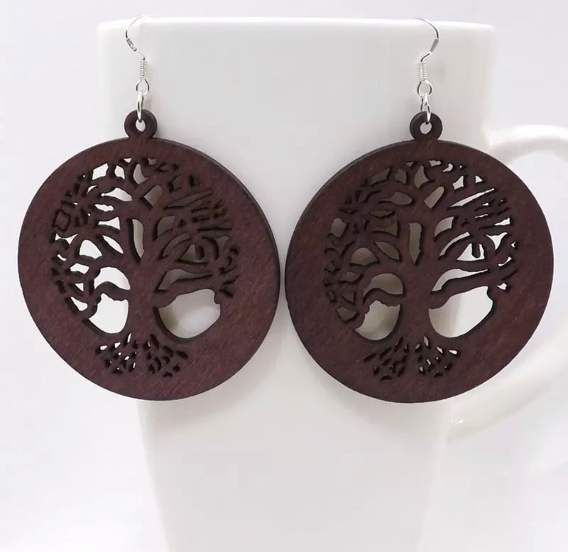 Assorted Boho Wooden Earrings Tree of Life
