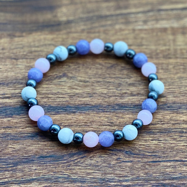 PTSD, Self Love & Inner Peace Angelite Quartz & Howlite Stretchy Adult Bracelet