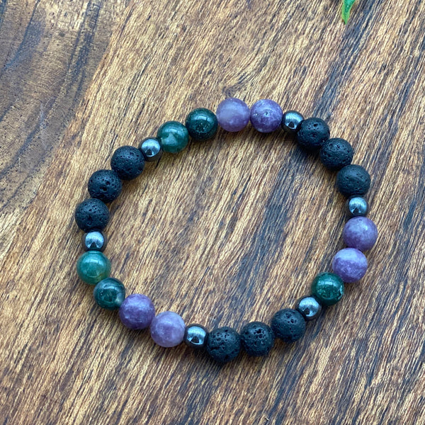 Be Free from addiction / Grief - Anxiety Lepidolite Hematite & Moss Agate Stretchy Adult Lava Bracelets