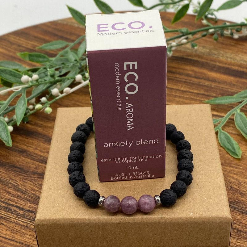 Gift Boxed Set ECO Anxiety Essential Oil & Lava Lepidolite Anxiety Bracelet