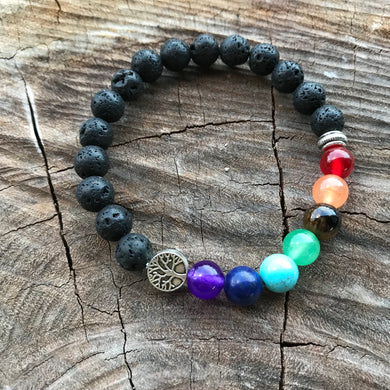 Tree of Life Adult Chakra Gemstone & Lava Stone Diffuser Bracelets