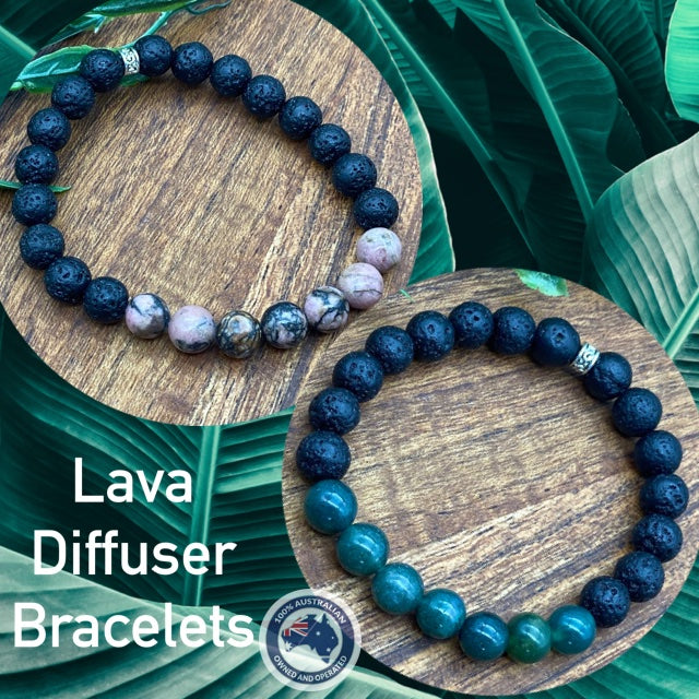 Lava & Green Moss Agate or Rhodonite Adult Diffuser Bracelets