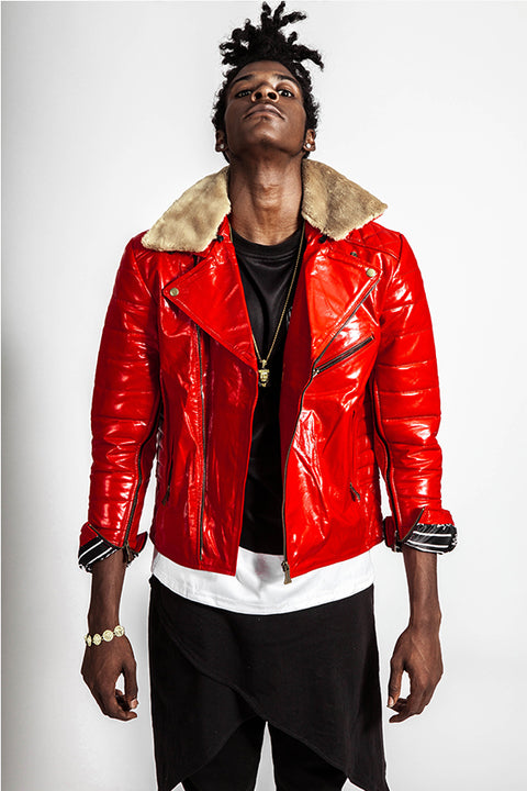 Quilted Red Fur Biker Jacket
