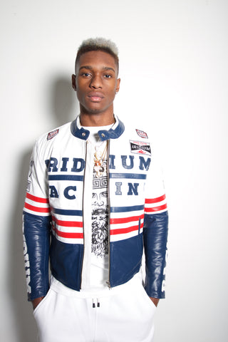 Racing Biker Jacket White