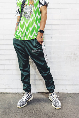 Green and White 'Ran' Joggers