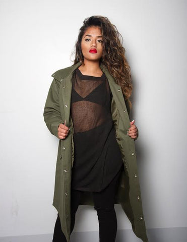 Iridium green trench coat