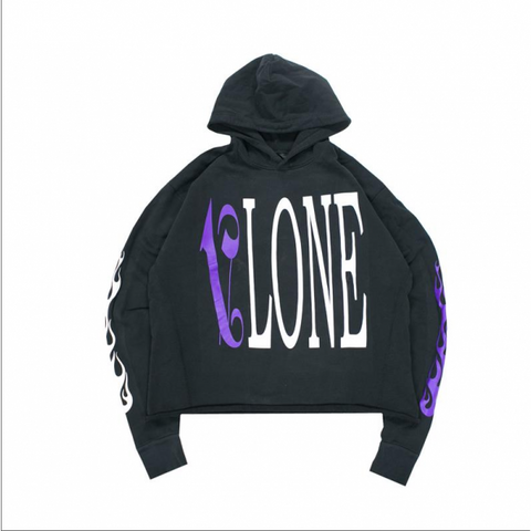 Vlone Palm Angels Purple and Black Hoodie