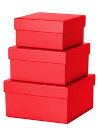 Simon Elvin Nest of 3 Small Gift Boxes - Red