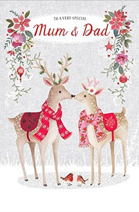 Christmas Card - (ABA6434) - Mum & Dad - Pair Of Deer Touching Noses - Flittered Finish