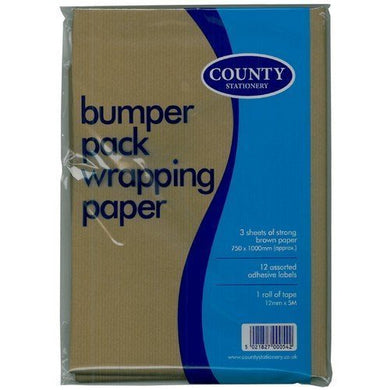 COUNTY BUMPER PACK WRAPPING PAPER 750 X 1000MM 3 SHEETS WITH ADHESIVE LABELS & ROLL OF TAPE 12MM X 5M