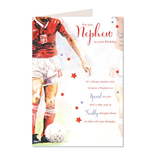 For You Nephew On Your Birthday Football Design Lovely Bright Modern Happy Birthday Cascade Greeting Card With A Lovely Verse