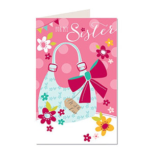 For My Sister Hand Bag Design Female Happy Birthday Truly Scrumptious Greeting Card TS11