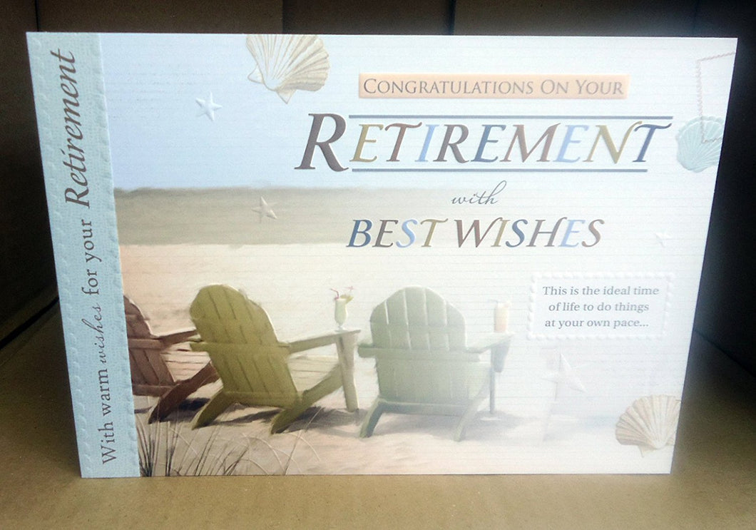 Congratulations On Your Retirement Card Good Quality Bright Modern Greeting Card with a Lovely Verse