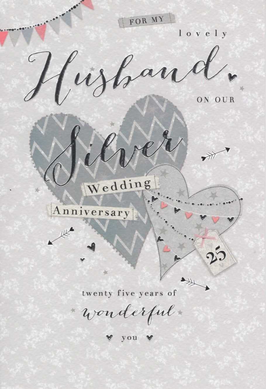 For My Husband on our Silver 25th Wedding Anniversary Card icg