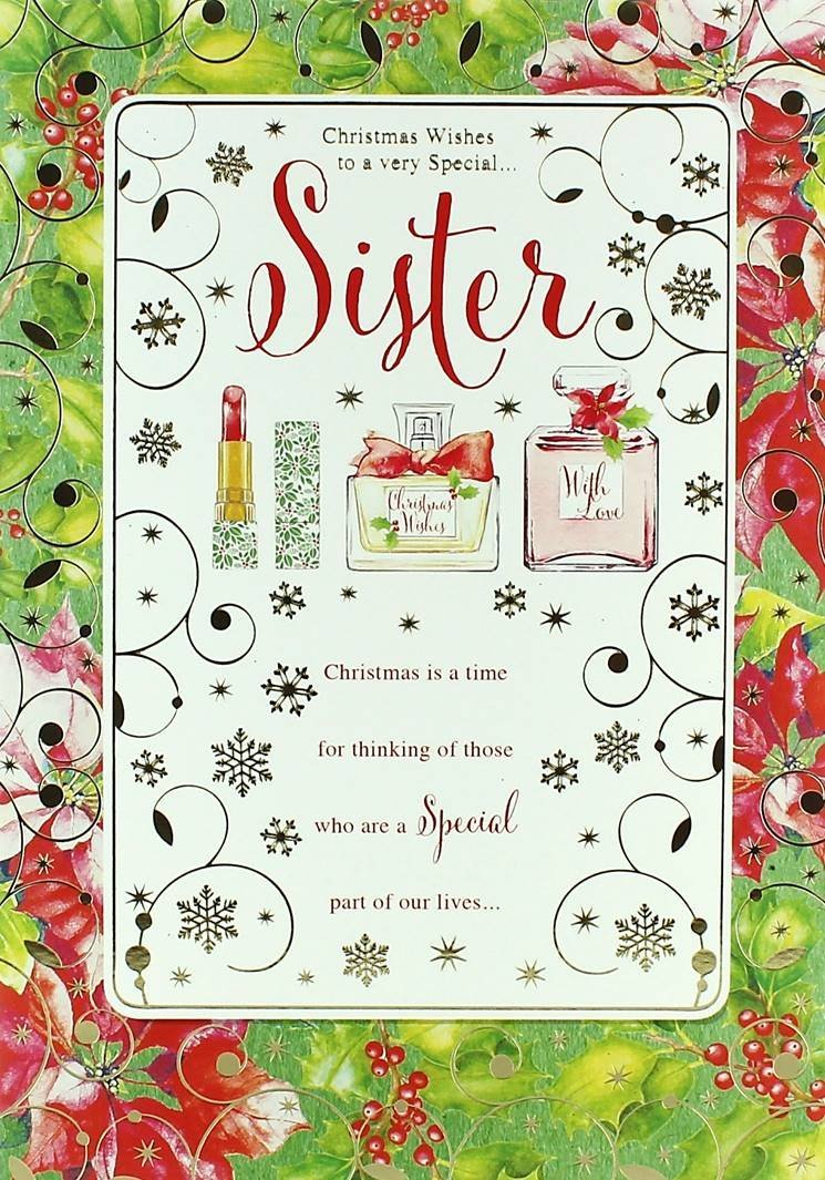 A Special Sister Lovely Perfume Make Up & Flower Design Christmas Card