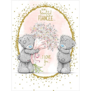 Birthday Card Me To You Fiancee Teddy's with Flowers By Carte Blanche