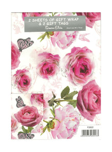 2 Sheets of Girls Gift Wrap & 2 Gift Tags - With Pink Roses & Butterflies