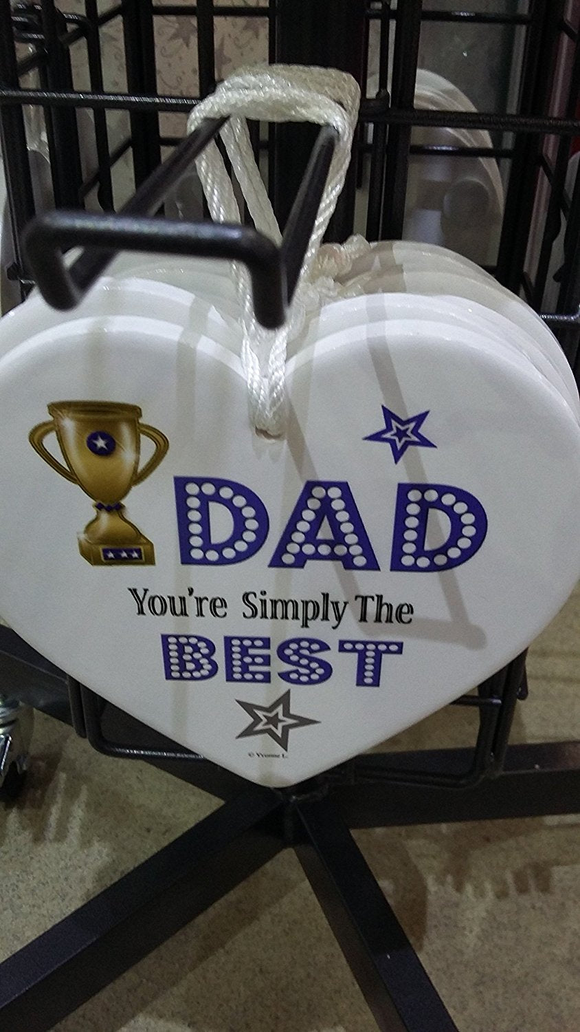 CERAMIC HEARTS - HANDCRAFTED - DAD YOU'RE SIMPLY THE BEST