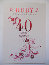 BEAUTIFUL COLOURFUL RUBY ANNIVERSARY 40 40TH ANNIVERSARY GREETING CARD