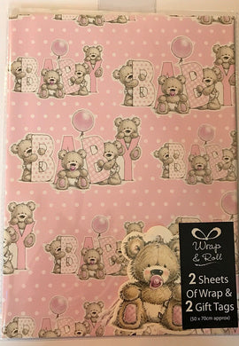 2 Sheets & 2 Tags Pink Teddy Girl Baby Gift Wrapping Paper