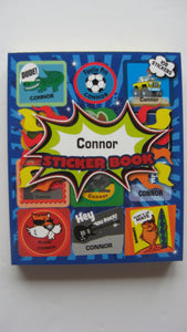 "BOYS PERSONALISED STICKER BOOK ""CONNOR"""