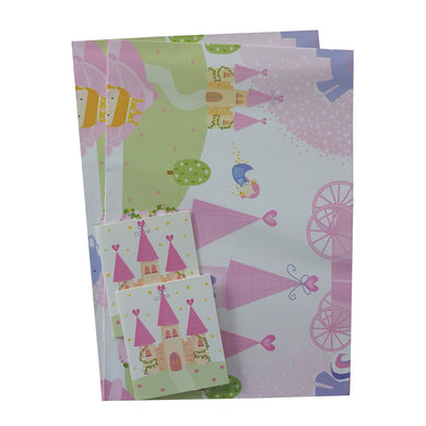 2 Sheets of Girls Gift Wrap & 2 Gift Tags - With Pink Castles, Carriages, Princesses and Fairy Godmothers