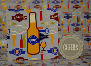 Cheers Gift Wrap 2 Sheet 2Tag + Card