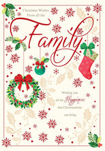 Christmas Wishes From All The Family Bright Modern Snowflake & Holly Design K2 Cascade Christmas Card With A Lovely Verse