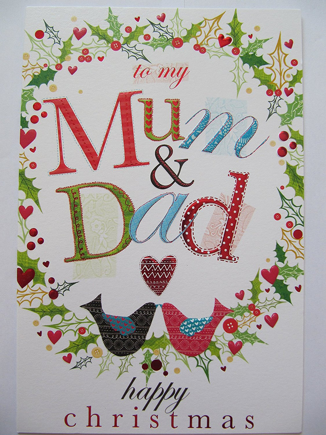COLOURFUL BIRDS AND FLOWERS TO MY MUM AND DAD CHRISTMAS GREETING CARD
