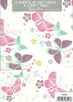 2 Sheets of Girls Pink and Purple Gift Wrap & 2 Gift Tags - With Butterflies & Flowers