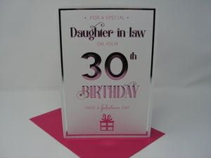 Daughter-in-Law on your 30th Birthday Card