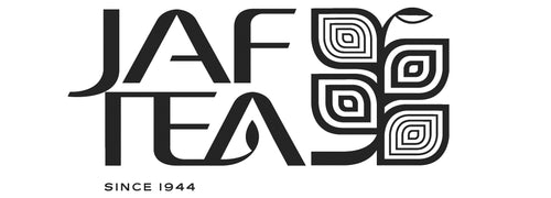 JAF TEA logo, fresh Ceylon teas, hand picked and packed at the source.