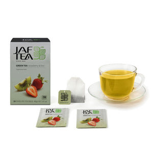 Strawberry & Kiwi Green Tea - Tea Bags-Tea-JAF TEA-Tea- tea,tea gifts, gourmet tea, herbal tea, black tea, green tea, ceylon teas, sri lanka, sri lanka tea, hand packed tea, fresh tea, free tea sampler, tea assortment, tea collection, organic tea, breakfast tea, iced tea, tea bag, teabag, tea bags, teabags, specialty tea, tea infusions, tea-over-ice, ice teas, ice tea - Jaf Tea USA - Jaf Tea