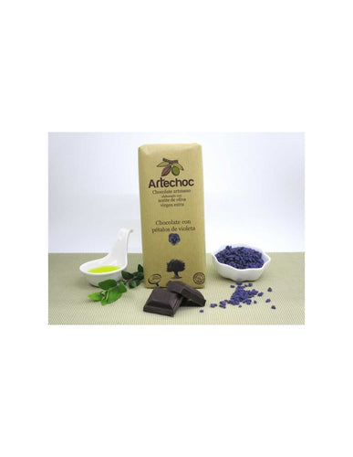 Chocolate with violet petals