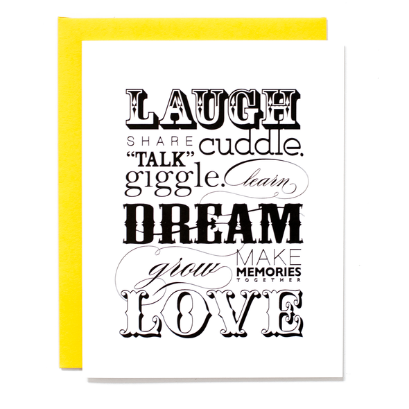 Laugh Dream Love Card