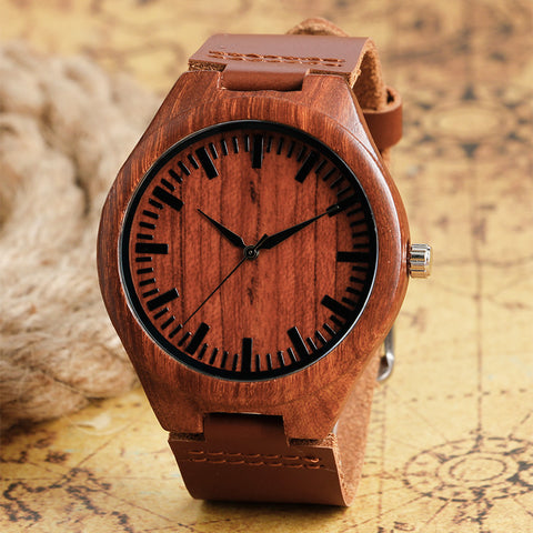 Bamboo Wooden Watches Men Women Genuine Leather Natrual Wood ,,,,, - HIRAM.ONLINE