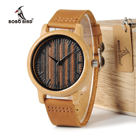 Bamboo Watch Wooden Dial Face Quartz Watches Leather,,, - HIRAM.ONLINE