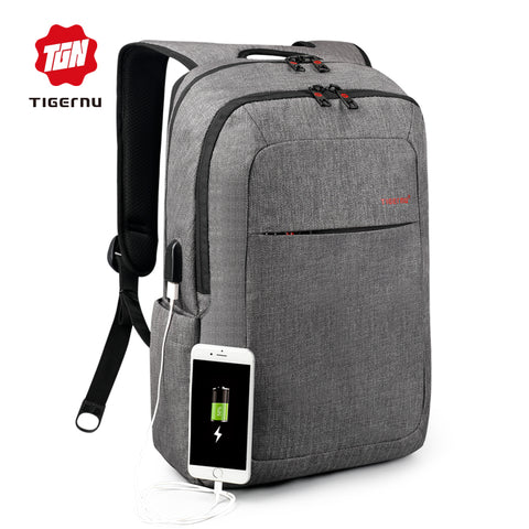 Brand External USB Charge Backpack Male Mochila Escolar Laptop - HIRAM.ONLINE