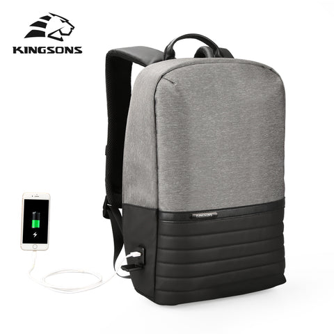 Kingsons 15.6'' Men Laptop Backpack External USB Charge Antitheft  Backpacks - HIRAM.ONLINE